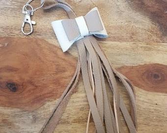 100% real leather bag charm