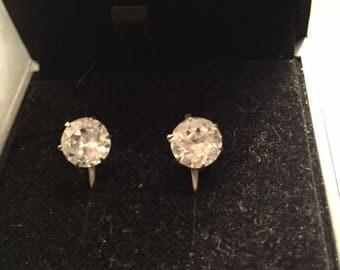 Vintage Faux Diamond Screw Back Silver Earrings 1960s