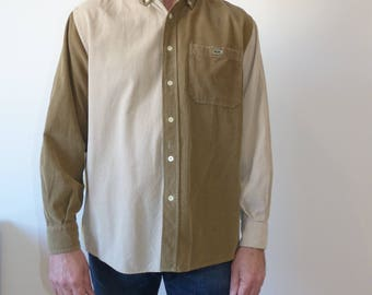 Lacoste Vintage Corduroy men's shirt, color block shirt for men, green button up  shirt, button down classic  shirt, hipster shirt size M.