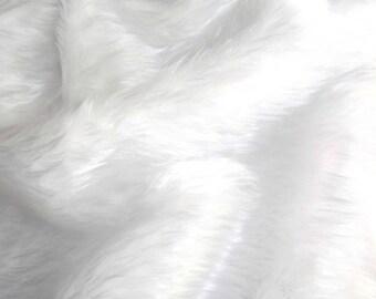 Plain Fun Faux Fur Fabric Material BRIGHT WHITE