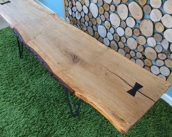 Live edge oak coffee table.