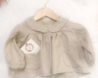 Natural linen long sleeve 3-6 months