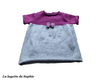 Hand knitted baby dress / two-tone dress size 6 months / newborn girl gift