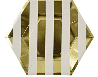 Gold Stripe Large Party Plate