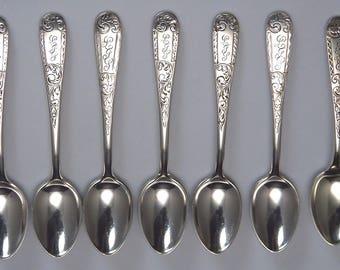 7 Vintage c1910 Sterling Silver S Kirk & Son Co Mayflower Demitasse Spoons