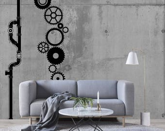 Steampunk Gears + Pipes ~ VINYL WALL DECAL