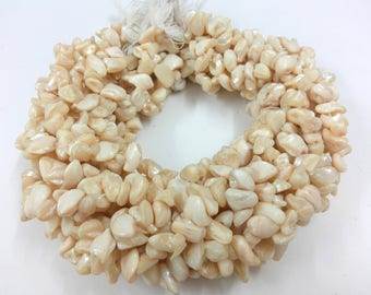 5 Strand Mother of Pearl Shell Beads, 5 to 7 mm Tumbled Mother of Pearl Shell Nugget Beads, Natural Undyed Mother of Pearl Shell Beads