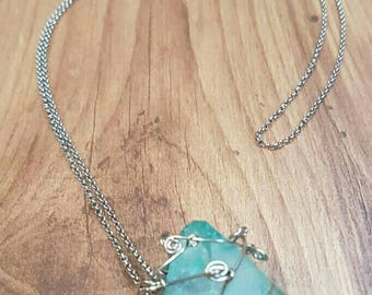 Blue Sea Glass Pendant Necklace