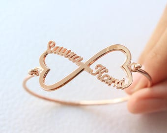 Infinity Name Bracelet - Silver Infinity Bracelet - Personalized name Bracelet - Custom Name Bracelet - Heart Infinity Bracelet