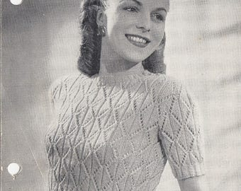 Vintage 1940s knitting pattern Angora jumper Weldons No. 615