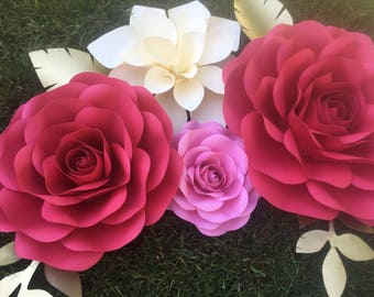 7pc Paper flowers wall decor- Large paper flowers - Red, pink and ivory paper flowers- birthdays, bridal showers, baby showers, weddings