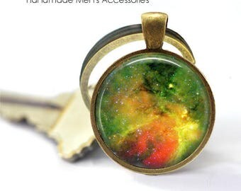 Green NEBULA NIGHT SKY Key Ring • Outer Space • Universal Space • Galaxy • Milky Way • Gift Under 20 • Made in Australia (K374)