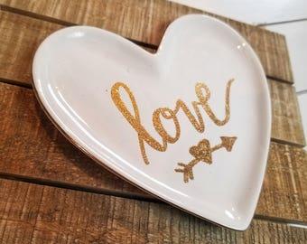 "Ceramic embossed ""love"" jewelry catch all dish"