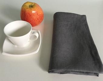 Linen napkins set of 4 (Large). Graphite linen dinner napkins. Washed, softened linen napkins. Handmade linen napkins.