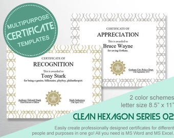 Multipurpose CERTIFICATE TEMPLATES H02 - Create different certificates for a list of awardees in one go using MS Word!