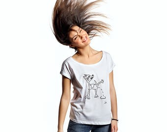 Naughty dog printed womens quality cotton tshirt, original hand drawn printed tee, humor tee, pencil sketch print, dog tees