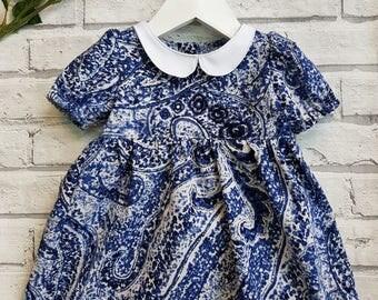 Baby Dress, Toddler's dress, Blue Dress, Party Dress, Puff Sleeve Dress, Girls dress, Babywear, Pretty Dress