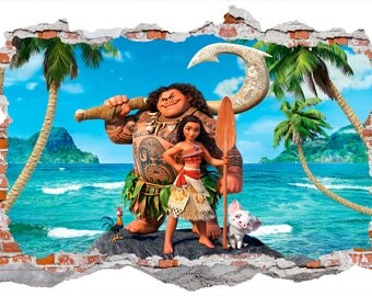 Moana Island Life Smashed Wall Sticker, Wall Decals