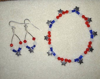 Patriotic,  red, white and blue earrings and bracelet set