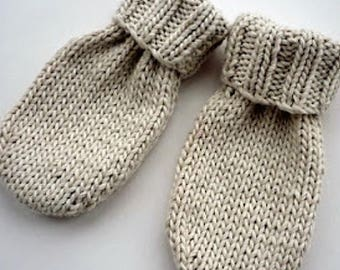 Knitted Grey Mittens