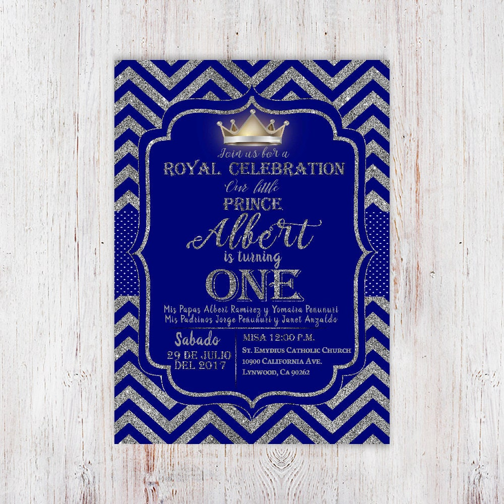 Prince Invitation. Baby Boy First Birthday Invitation. Boy 1st ...