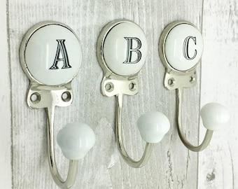Ceramic Alphabet Or Number Letter Wall Coat Rack Hook