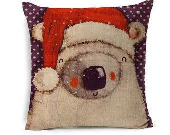 Kids Cartoon Animal Cushion Cover Bear With Christmas Hat Throw Pillow Case