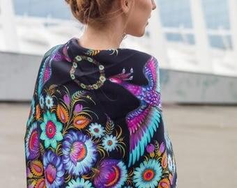 "Designer Silk scarf ""Petrykivka Painting"" black"
