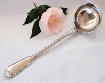 """Vintage French Silver plated ladle or """"louche"""" with monogram RG or GR"""