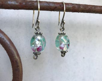 Lampwork Glass Bead Earrings with Sterling Silver