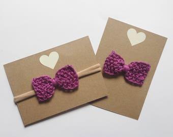 Hair bow - purple bow - hand knit baby bow - nylon headband or alligator clip