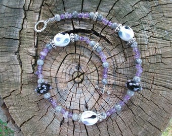 Viking Necklace ~ Slavic Necklace ~ Lampwork Beads ~ Viking Jewelry ~ Viking Beads ~ Amethyst Necklace
