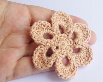 6 petals flower - Corail Pink White or Purple cotton - craft supplies motif scrapbooking - 6,6 cm