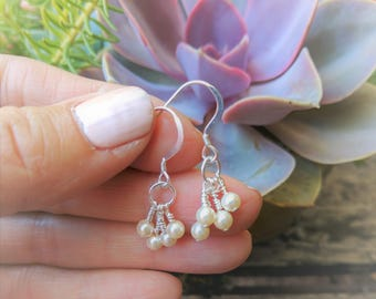 Pearl earrings.  Sterling silver Swarovsky pearl cluster dangle earrings.   Petite and sweet