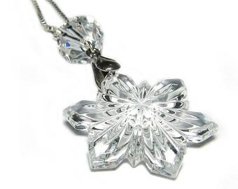925 Solid Sterling Silver Necklace with Swarovski® Vintage Snowflake & Accent #2125