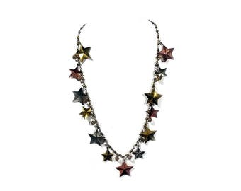 "Rare Vintage Moon and Stars Long Necklace 34"" #217"