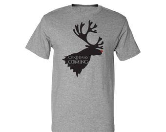 Game of Thrones Inspired Rudolph is Coming House Stark Christmas T-Shirt Tee