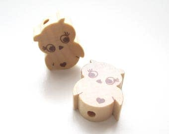 Little OWL - natural wooden bead