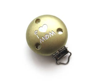 Wooden clip I Love Mom Glitter gold