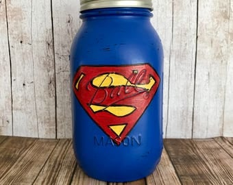 Superman Mason Jar Bank, superhero, red and blue, room decor, birthday gift
