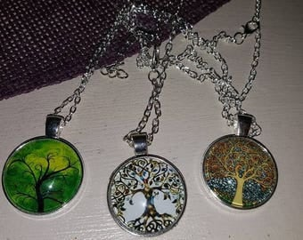 Tree of life necklaces glass cabochon