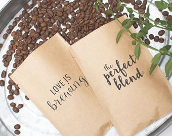 Ready to Ship Wedding Favors | Last Minute Gifts for Wedding Guests | Roasted Coffee Wedding Favors | Love is Brewing | The Perfect Blend