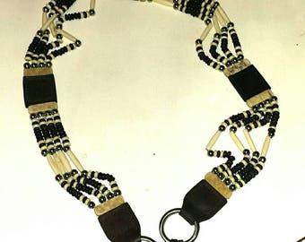 Carved Bone Tribal Native American Leather Belt ML    A