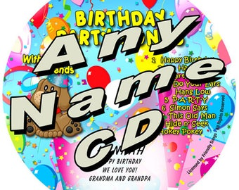 Birthday Party Songs. Personalized music CD. Your child's name in the songs! An entire custom album! For toddlers, kids