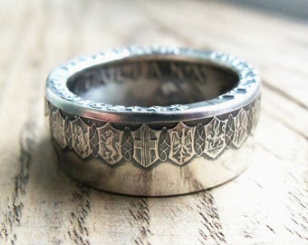 SILVER Italian 500 Lire Coin Ring - Silver rings - Italian Jewelry - Silver coin rings - ring from Italian coin - Italy 500 Lire