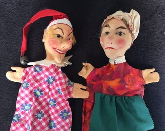 Kersa Puppets, hand-made vintage puppets, collectible toy, for kids or adults, puppet duo, I think this is Court Jester and cook...