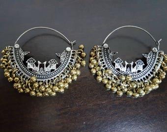 Peacock Silver oxidised hoop chandbalis party festive wear gypsy boho tribal wear