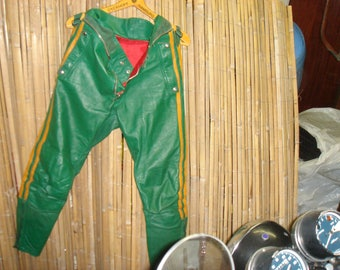 Leather pants by a combination of the 70s top state