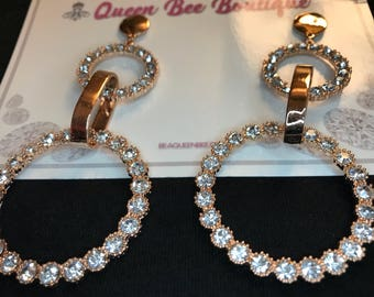 Gold Austrian Crystal Double Hoop Earrings