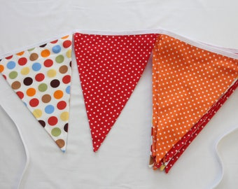 Mixed Spots - bright banner, summer garland, celebration party, weddings, birthdays and festivals. Long length and large pennants.